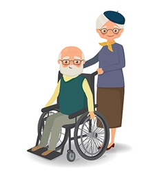 Elderly woman strolling with disabled elderly man vector image