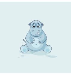 Emoji character cartoon hippopotamus sad and vector