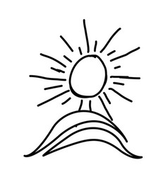 figure paint sun with mountain icon vector image