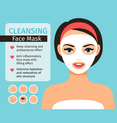 girl with cosmetic face mask vector image