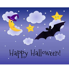 Halloween background with moon and bat vector image