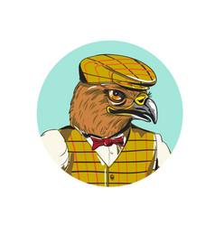 Hawk english outdoorsman head circle drawing vector