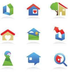housing icons vector image vector image