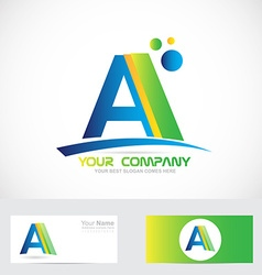 Letter A green blue logo vector image