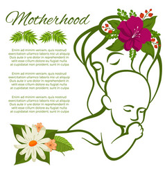 mom and baby line silhouette and flowers - vector image vector image