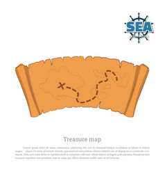 pirate map on white background treasure hunters vector image vector image