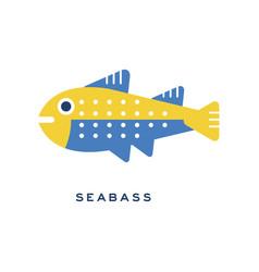 seabass sea fish geometric flat style design vector image