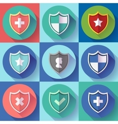 Security shield icon set - protection symbols vector image