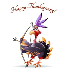 Turkey with bow thankgiving greeting card vector image vector image