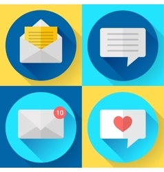 Flat color message sms icons set vector image vector image