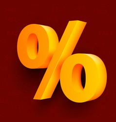 golden percent sign on red background vector image