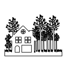 monochrome contour of cottage in the forest in vector image