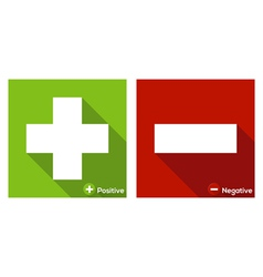Plus and Minus sign flat icon long shadow vector image