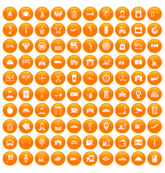 100 loader icons set orange vector