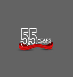 55 years anniversary line style white color vector
