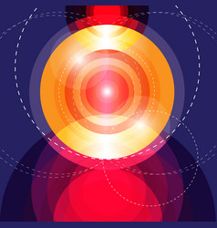 abstract glowing circles shape on a dark vector image