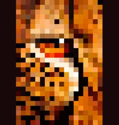 animal pixel art eye leopard pixel vector image