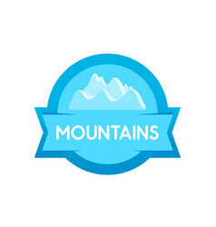 badge round shape of mountains blue form vector image