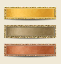Banners with polygonal backgrounds and glittering vector