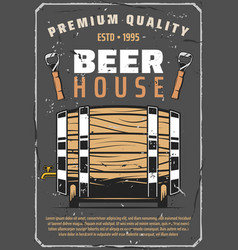 Beer brewery house poster with wooden barrel vector