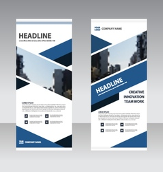 Blue black Business Roll Up Banner flat design set vector image