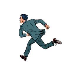 Businessman runs business man is late vector