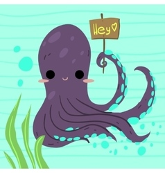 Cartoon funny octopus flat icon vector image
