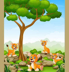 cartoon lioness group in the jungle vector image