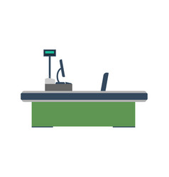 Cash desk with computer terminal icon vector