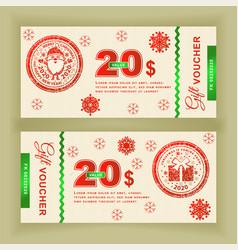 christmas coupon voucher with santa claustwenty vector image