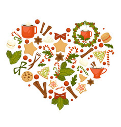 Cocoa and tea christmas cookies and candies vector