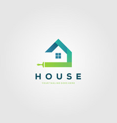 colorful paint house brushes logo creative clever vector image