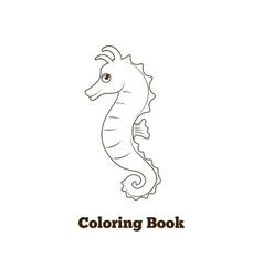 Coloring book sea horse fish cartoon vector