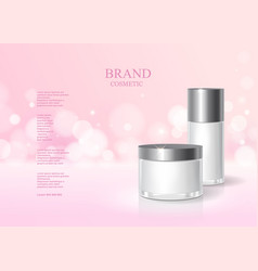 cosmetic pink bottle package design with cream vector image