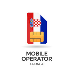 croatia mobile operator sim card with flag vector image