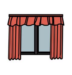 Cute courtain windows icon vector