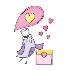 cute little bird with envelope lovely character vector image