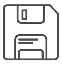 Diskette line icon memory vector