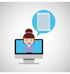 Document education online design girl vector