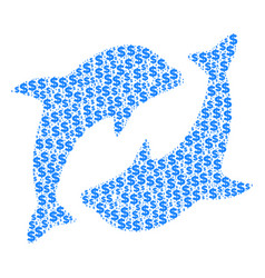 Dolphins collage dollar and dots vector