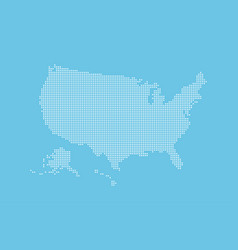 dotted style map of usa and blue background vector image
