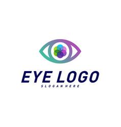 eye logo design concept template colorful media vector image