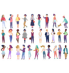 fashion young people collection in stylish casual vector image