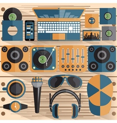 flat design of dj and music theme vector image