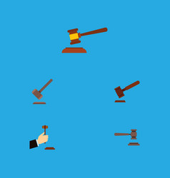 Flat icon lawyer set of hammer tribunal justice vector