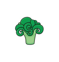 Flat sketch style green fresh ripe broccoli vector