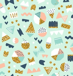 Fun shapes pattern with gold vector