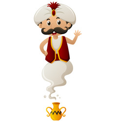 genie coming out of lamp vector image