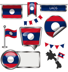 Glossy icons with flag of laos vector
