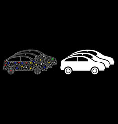 Glossy mesh wire frame car traffic icon with light vector